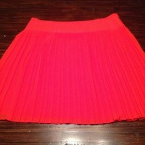 Ann Taylor Loft Orange Pleated Short Skirt 8
